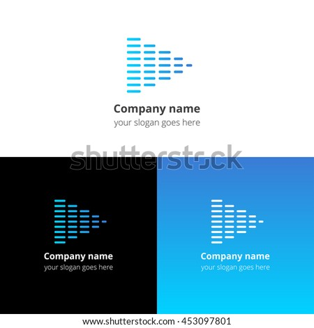 Equalizer beat into play music sound icon, flat logo vector template. Abstract symbol and button with blue gradient for music service or company. - stock vector