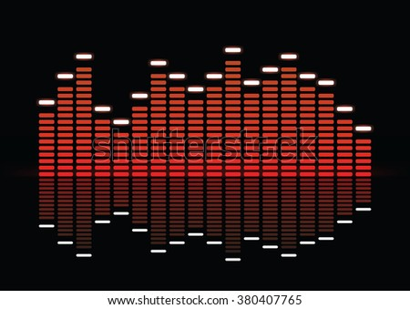 Equalizer, bright red equalizer on black background with reflection, vector illustration