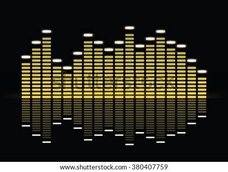 Equalizer, bright yellow equalizer on black background with reflection, vector illustration