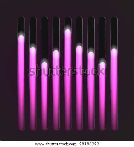 Equalizer glossy glowing track bar. Vector media player elements. - stock vector