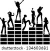 Equalizer, music, disco, dancing girls, club - isolated on black background - stock photo