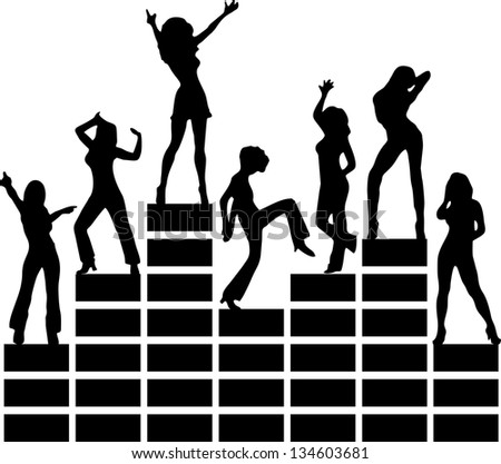 Equalizer, music, disco, dancing girls, club - isolated on black background - stock vector
