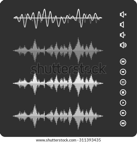 Equalizer Vector Sound Waveforms.  Musical pulse icons and buttons. - stock vector