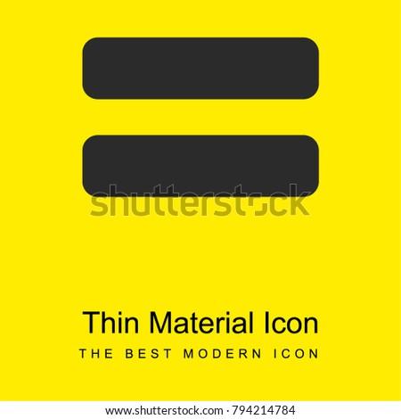 Equals Symbol Bright Yellow Material Minimal Stock Photo Photo