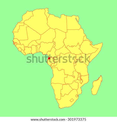 Equatorial Guinea vector map isolated on Africa map. Editable vector map of Africa.  - stock vector