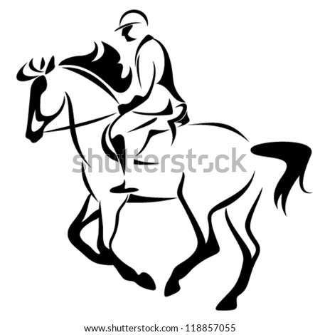 equestrian emblem - horse riding vector illustration - black and white outline - stock vector