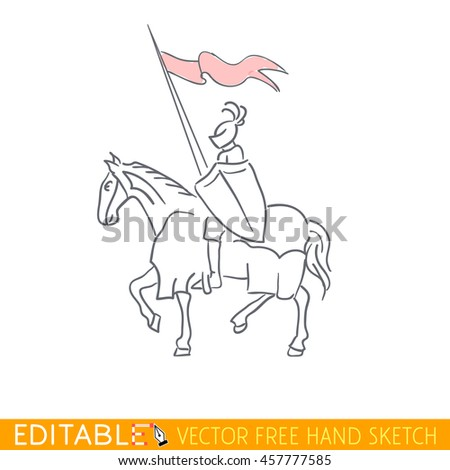 Equestrian Knight. Editable vector icon in free hand style. - stock vector