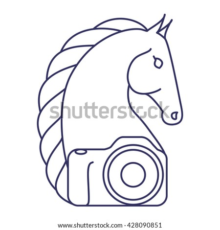 Equestrian Photographer logo. Horse head and a camera. Isolated on white background, vector illustration. - stock vector