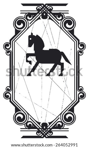 equestrian shield with vintage frame - stock vector