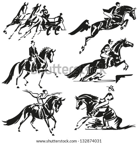 Equestrian  Simplified silhouettes of competitive equestrian sports: combined driving, show jumping, dressage, eventing (military), equestrian vaulting and western riding. - stock vector
