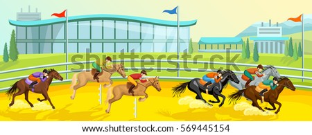 Equestrian Sport Cartoon Template With Running And Jumping Horses Riders At Competition Vector Illustration