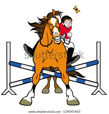 equestrian sport,horse rider in jumping show,cartoon illustration isolated on white background - stock vector