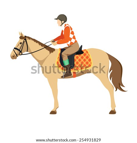 Equestrian sport. Illustration of horse. Vector. Thoroughbred horse. The Sport of Kings. Derby. Horse with Horseman - stock vector