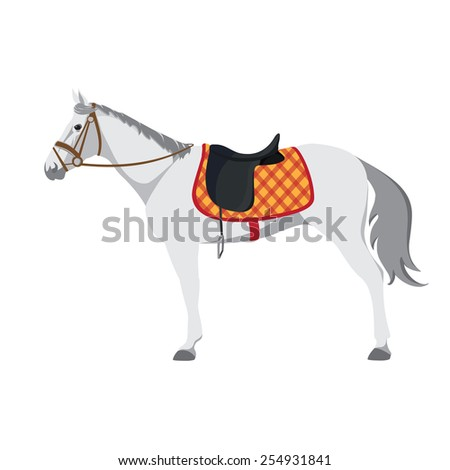 Equestrian sport. Illustration of horse. Vector. Thoroughbred horse. The Sport of Kings. Horse with Saddle - stock vector