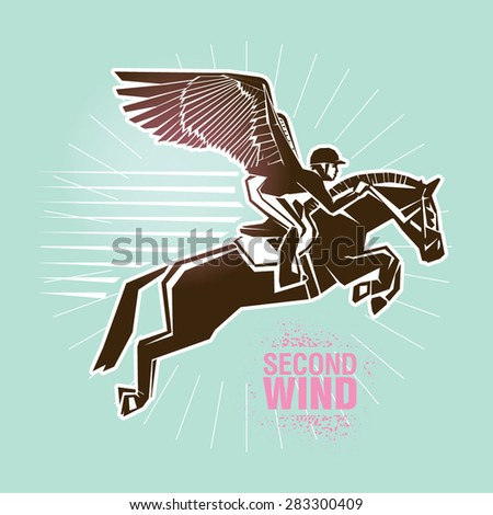 """Equestrian sport.  Vector illustration created in topic """"Second wind """"  - stock vector"""