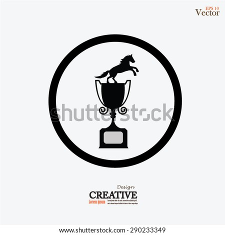 Equestrian sports trophies vector.horse championship cup.vector illustration. - stock vector