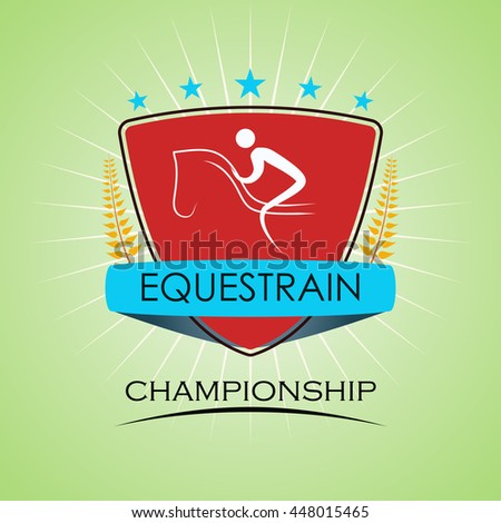 Equestrian - Winner Golden Laurel Seal with Golden Ribbon - Layered EPS 10 Vector - stock vector