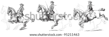 Equestrianism (horseback riding) / vintage illustration from Meyers Konversations-Lexikon 1897 - stock vector