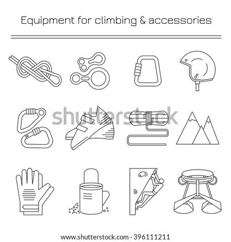 Equipment for climbing.Linear icons. - stock vector