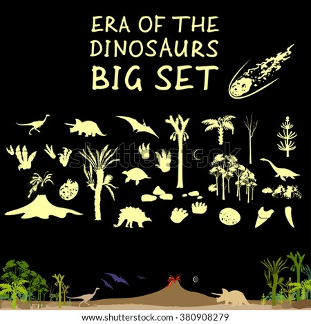 Era of dinosaurs big set with prehistoric nature. Dinosaur picture. Dinosaur image. Dinosaur drawing. Dinosaur graphics. Dinosaur collection. Dinosaur Vector Illustration. Dinosaur EPS. Dinosaur JPEG. - stock vector