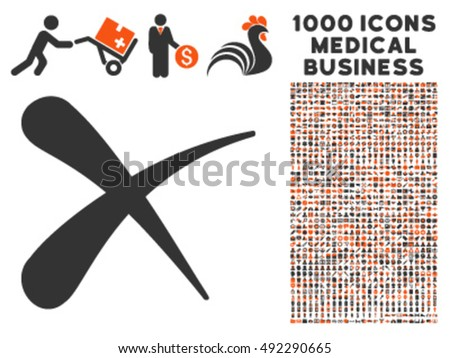 Erase icon with 1000 medical business orange and gray vector design elements. Set style is flat bicolor symbols, white background.