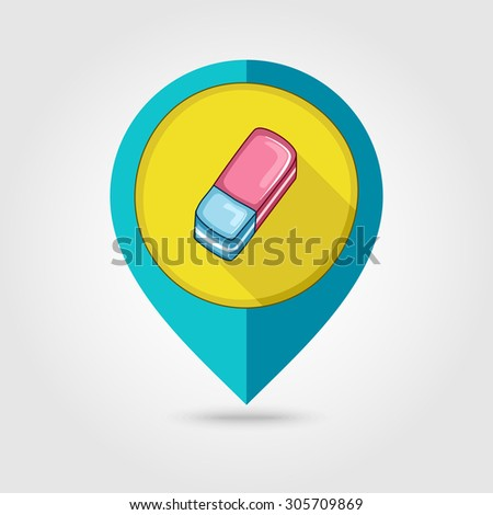 Eraser flat mapping pin icon - stock vector