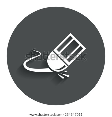 Eraser icon. Erase pencil line symbol. Correct or Edit drawing sign. Gray flat button with shadow. Modern UI website navigation. Vector - stock vector