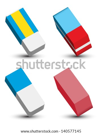 Eraser Set - stock vector