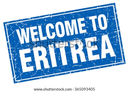 Eritrea blue square grunge welcome to stamp