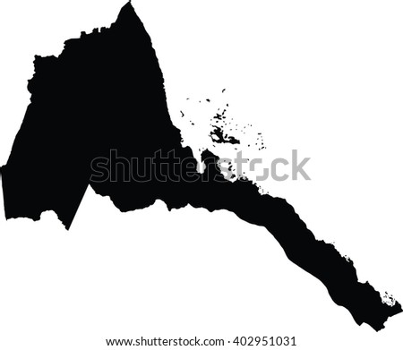 Eritrea vector map high detailed silhouette illustration isolated on white background.