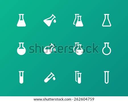 Erlenmeyer flasks flask tube icons on green background. Vector illustration. - stock vector