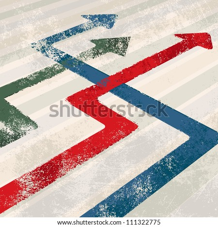 Eroded arrows vector - stock vector