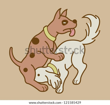 Erotic couple dogs version 5. Making love position dogs version in soft color