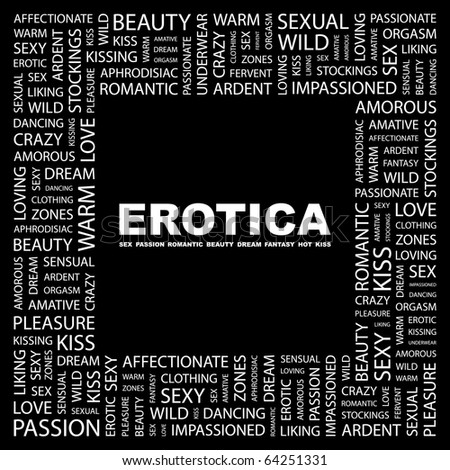EROTICA. Word collage on black background. Illustration with different association terms.