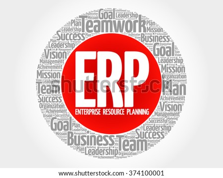 ERP - Enterprise Resource Planning circle word cloud, business concept - stock vector