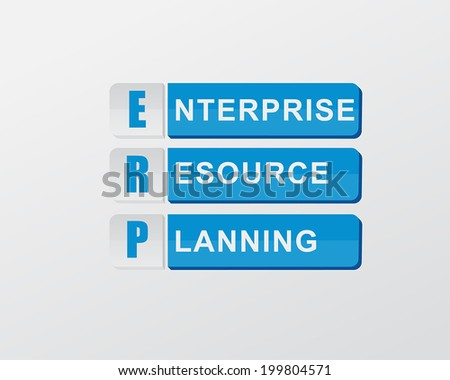 ERP - enterprise resource planning - text in blue banners, flat design, business systems concept, vector - stock vector