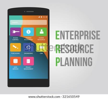 erp - enterprise resource planning vector flat design smartphone and mobile - stock vector