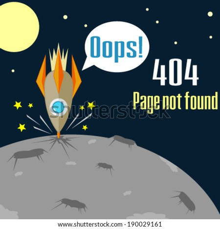 Error 404 concept with crushed rocket - stock vector