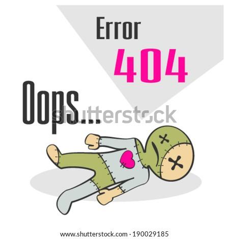 Error 404 concept with voodoo doll - stock vector