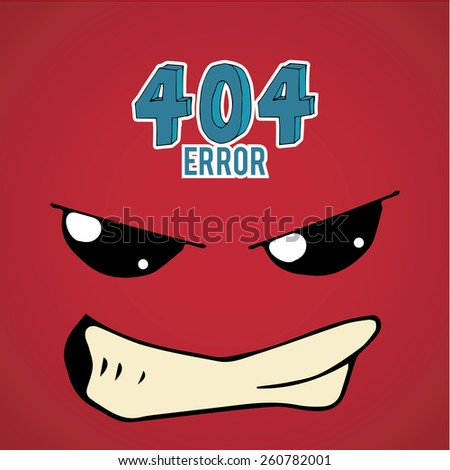 Error 404,disgusted face over  red color background - stock vector