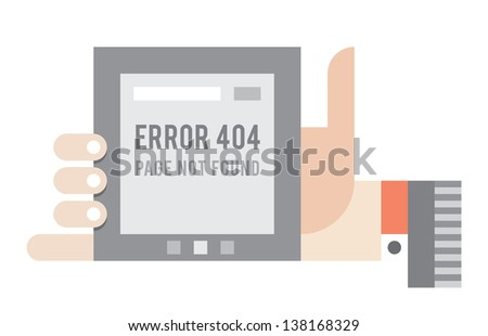 Error 404 Page not found error on the screen of the internet tablet in human hand. Vector illustration.