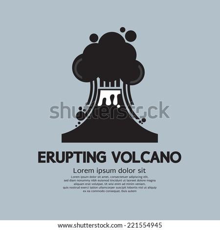 Erupting Volcano Natural Disaster Vector Illustration - stock vector