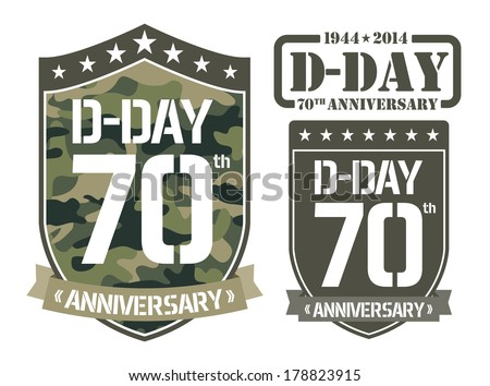 Escutcheon D-DAY Anniversary - stock vector