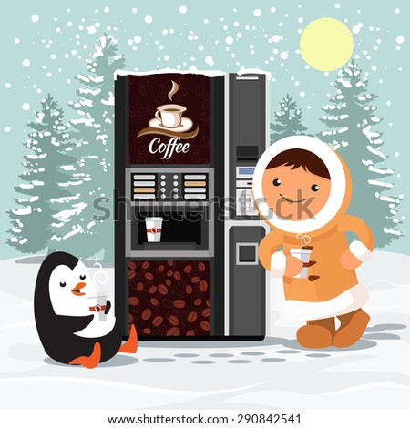 Eskimos and penguins near the vending coffee machine - stock vector