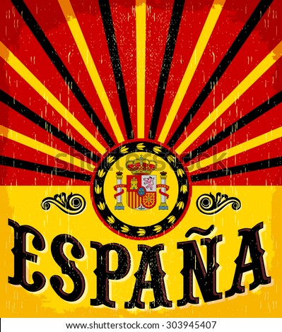 Espana Spain Spanish Text Vintage Card Stock Vector