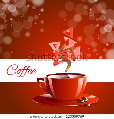 Espresso coffe red mug front brown coffee beans - stock vector