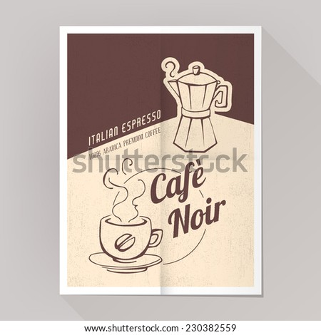 Espresso coffee poster with cup and moka, grunge texture. - stock vector