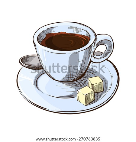 Espresso served in a small cup with 2 lumps of sugar on a saucer. Outline sketch with color and shading in separate layers isolated on white background. EPS10 vector illustration.