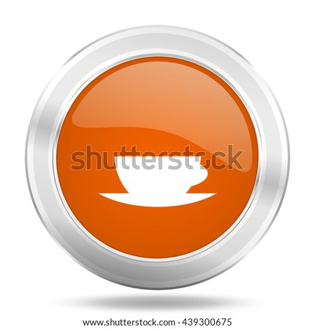 espresso vector icon, orange circle metallic chrome internet button, web and mobile app illustration