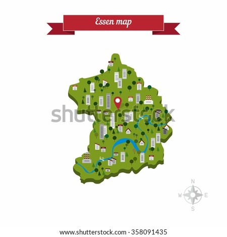 Rotterdam Germany Map Flat Style Design Stock Vector - Germany map cartoon